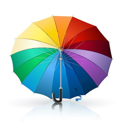 umbrella with rainbow colour vector illustration isolated on white background Stock Photo - Budget Royalty-Free & Subscription, Code: 400-04400385