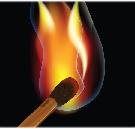 Burning match on a black background match on a black background Stock Photo - Budget Royalty-Free & Subscription, Code: 400-04400404