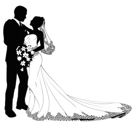 A bride and groom on their wedding day about to kiss in silhouette Stock Photo - Budget Royalty-Free & Subscription, Code: 400-04400964