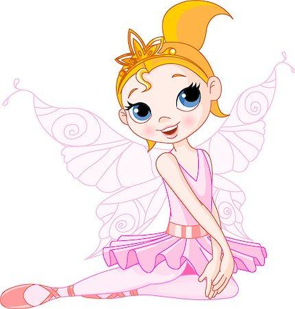 Illustration of Little Cute sitting Fairy Ballerina Stock Photo - Budget Royalty-Free & Subscription, Code: 400-04401119