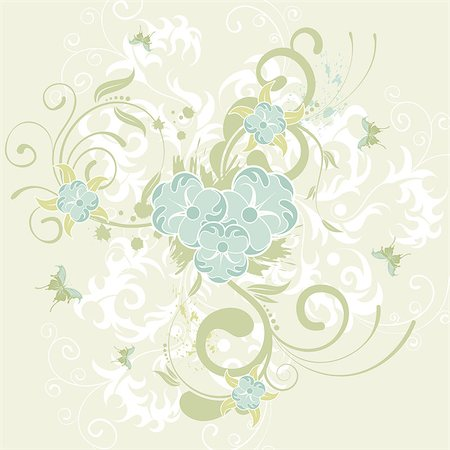 filigree designs in trees and insects - Grunge flower background with butterfly, element for design, vector illustration Stock Photo - Budget Royalty-Free & Subscription, Code: 400-04402544