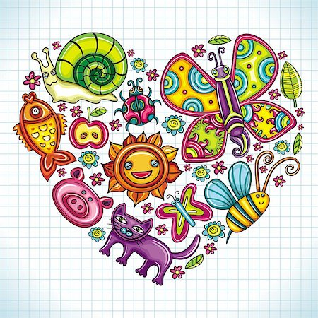 Flora and fauna theme heart. Cartoon set of colorful icons of animals, birds and plants. Doodle collection contains: leafs, , pigeon, bumblebee, , goldfish, ladybug, butterfly, kitten, apple Stock Photo - Budget Royalty-Free & Subscription, Code: 400-04402837