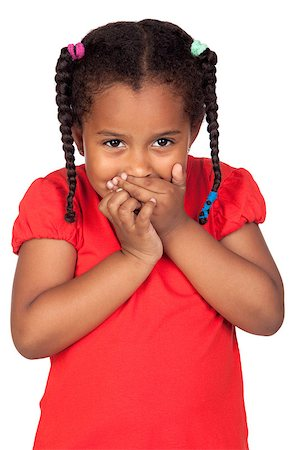 African little girl covering the mouth isolated on a over white Stock Photo - Budget Royalty-Free & Subscription, Code: 400-04402986