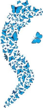 Swarm of flying blue butterflies making S form. Vector set Stock Photo - Budget Royalty-Free & Subscription, Code: 400-04403242