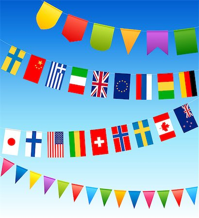 bunting flags and country flags on a blue sky. Vector illustration. Stock Photo - Budget Royalty-Free & Subscription, Code: 400-04403661