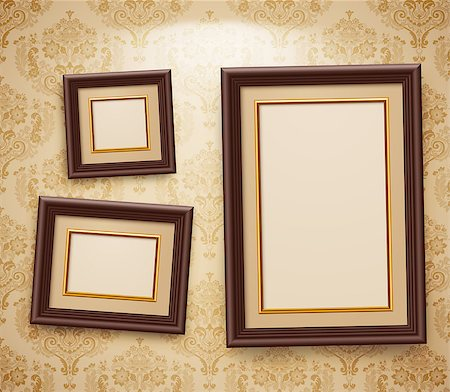 Wooden frames on the wall. Vintage background Stock Photo - Budget Royalty-Free & Subscription, Code: 400-04403687