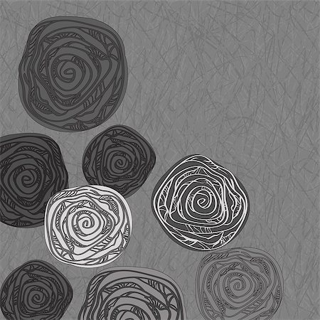 flower clipart paint - vector monochrome greeting card with abstract roses on grunge background Stock Photo - Budget Royalty-Free & Subscription, Code: 400-04403777