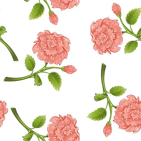 peony design vector - Seamless from pink peony and green leaves.Clipping Mask.(can be repeated and scaled in any size) Stock Photo - Budget Royalty-Free & Subscription, Code: 400-04403801