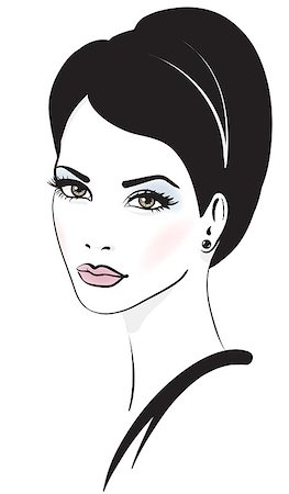 retro beauty salon images - woman face vector illustration Stock Photo - Budget Royalty-Free & Subscription, Code: 400-04403866