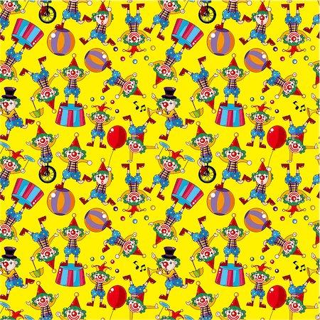 seamless cartoon circus clown pattern Stock Photo - Budget Royalty-Free & Subscription, Code: 400-04403872