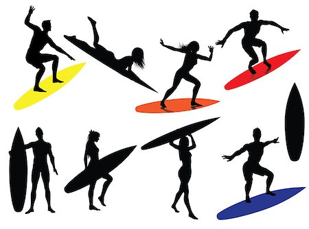 scalable - Surfing Silhouettes isolated on white background Stock Photo - Budget Royalty-Free & Subscription, Code: 400-04414734