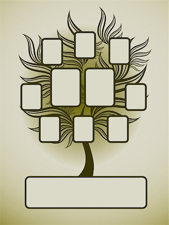 Vector family tree design with frames and autumn leafs. Place for text. Stock Photo - Budget Royalty-Free & Subscription, Code: 400-04415235