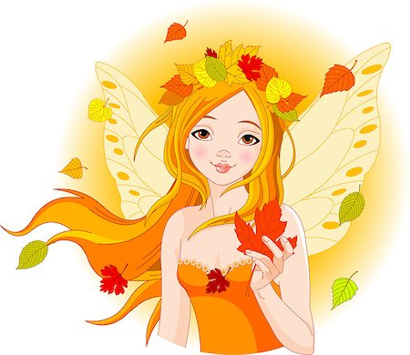 face woman beautiful clipart - Illustration of beautiful Autumn fairy with Maple Leaf Stock Photo - Budget Royalty-Free & Subscription, Code: 400-04415435