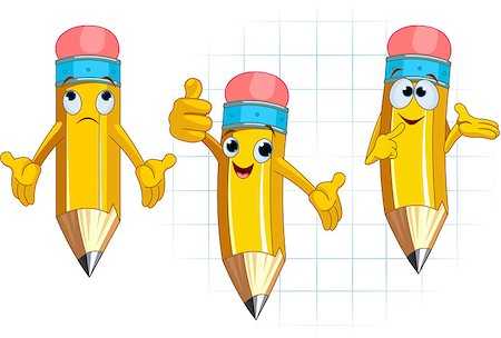 Pencil Character Different facial expressions and posing Stock Photo - Budget Royalty-Free & Subscription, Code: 400-04415436