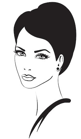 retro beauty salon images - beauty woman face vector icon Stock Photo - Budget Royalty-Free & Subscription, Code: 400-04415491