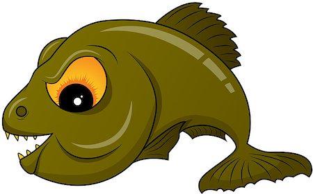 piranha fish - Vector picture of green piranha Stock Photo - Budget Royalty-Free & Subscription, Code: 400-04415738