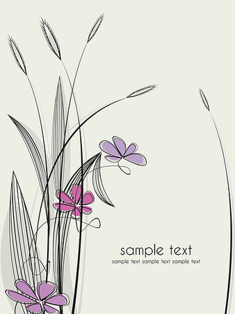 Vector floral background, the theme of grass with flowers Stock Photo - Budget Royalty-Free & Subscription, Code: 400-04415823