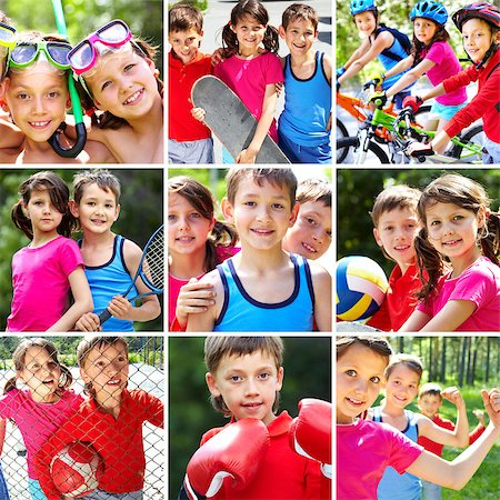 Collage of three happy children spending summer vacation Stock Photo - Budget Royalty-Free & Subscription, Code: 400-04416250