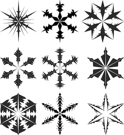 pretty in black clipart - snowflake silhouette vector Stock Photo - Budget Royalty-Free & Subscription, Code: 400-04416309