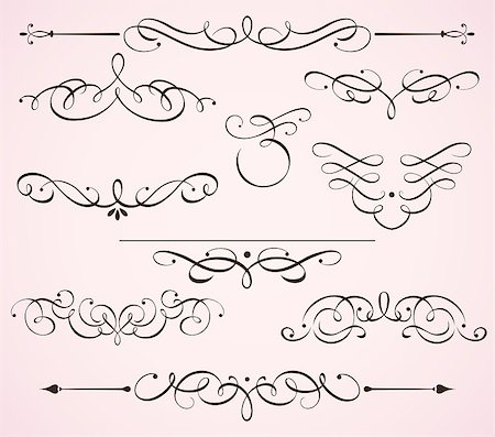 Vector illustration set of swirling flourishes decorative floral elements Stock Photo - Budget Royalty-Free & Subscription, Code: 400-04416414