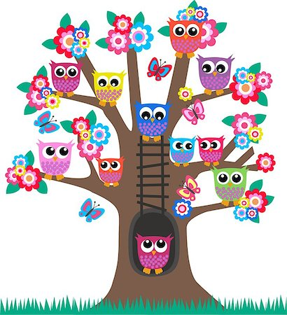 lot of colorful owls sitting in a tree Stock Photo - Budget Royalty-Free & Subscription, Code: 400-04417846