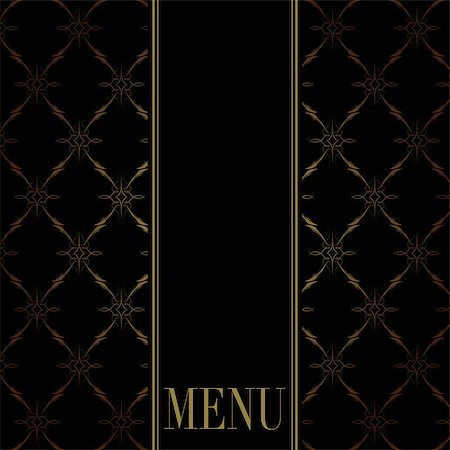 Vintage Menu Card Design - Golden Ornaments on Black Background Stock Photo - Budget Royalty-Free & Subscription, Code: 400-04417950