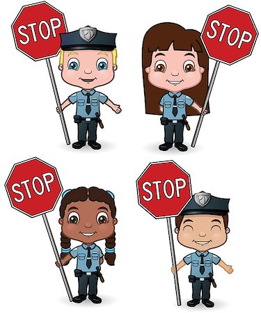female police officer happy - This is a vector illustration of children dressed as cops holding stop signs. Stock Photo - Budget Royalty-Free & Subscription, Code: 400-04417976