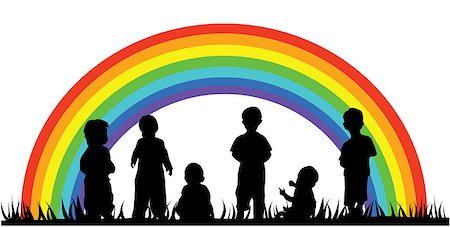 vector illustration of children silhouettes and rainbow Stock Photo - Budget Royalty-Free & Subscription, Code: 400-04418017