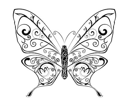 Butterfly silhouete with abstract motif, vector illustration. Stock Photo - Budget Royalty-Free & Subscription, Code: 400-04418011