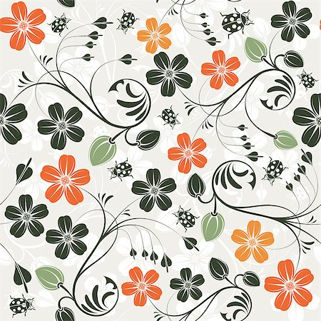 simsearch:400-04367215,k - Flower seamless pattern with ladybug, element for design, vector illustration Stock Photo - Budget Royalty-Free & Subscription, Code: 400-04418768