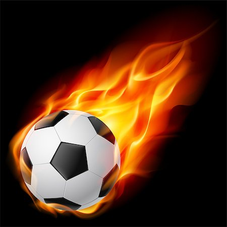 sparks with white background - Soccer Ball on Fire. Illustration on black background Stock Photo - Budget Royalty-Free & Subscription, Code: 400-04418797