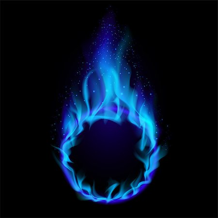Blue ring of Fire. Illustration on black background for design Stock Photo - Budget Royalty-Free & Subscription, Code: 400-04418790
