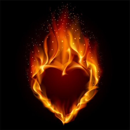 Heart in Fire. Illustration on black background for design Stock Photo - Budget Royalty-Free & Subscription, Code: 400-04418793