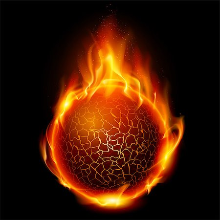 Fire ball. Illustration on black background for design Stock Photo - Budget Royalty-Free & Subscription, Code: 400-04418800