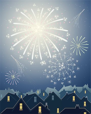 fireworks vector - an illustration of beautiful fireworks in a night time starry sky over the rooftops of a city skyline Stock Photo - Budget Royalty-Free & Subscription, Code: 400-04418979