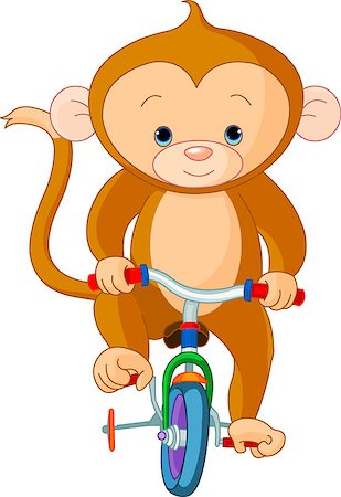 smiling chimpanzee - Monkey  on Bicycle in circus Stock Photo - Budget Royalty-Free & Subscription, Code: 400-04419108