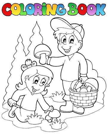 Coloring book with kids mushrooming - vector illustration. Stock Photo - Budget Royalty-Free & Subscription, Code: 400-04419374