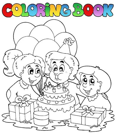 Coloring book with party theme 2 - vector illustration. Stock Photo - Budget Royalty-Free & Subscription, Code: 400-04419377