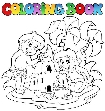 Coloring book with summer theme 1 - vector illustration. Stock Photo - Budget Royalty-Free & Subscription, Code: 400-04419378