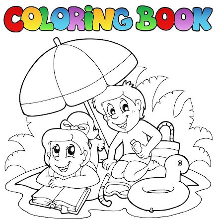 Coloring book with summer theme 2 - vector illustration. Stock Photo - Budget Royalty-Free & Subscription, Code: 400-04419379