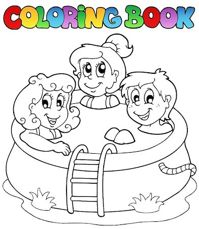 Coloring book with kids in pool - vector illustration. Stock Photo - Budget Royalty-Free & Subscription, Code: 400-04419373