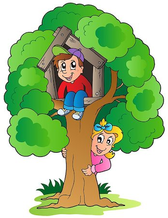 Tree with two cartoon kids - vector illustration. Stock Photo - Budget Royalty-Free & Subscription, Code: 400-04419408