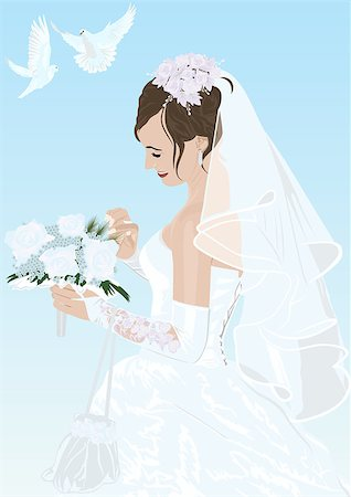 The bride in her wedding dress with a bouquet of flowers and two white doves flying Stock Photo - Budget Royalty-Free & Subscription, Code: 400-04419578