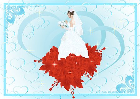 Frame with the bride in her wedding dress and bouquet of flowers is a bunch of red roses Stock Photo - Budget Royalty-Free & Subscription, Code: 400-04419579