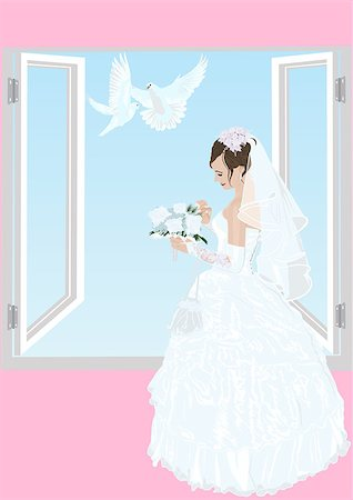 The bride near an open window in her wedding dress with a bouquet of flowers and two white doves flying Stock Photo - Budget Royalty-Free & Subscription, Code: 400-04419584