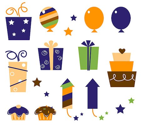 Icons and design elements for party celebration. Vector Illustration. Stock Photo - Budget Royalty-Free & Subscription, Code: 400-04419728