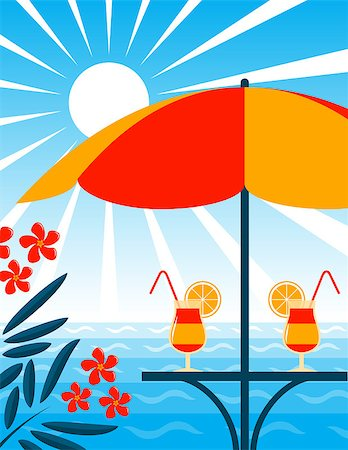 flores - vector beach bar scene, Adobe Illustrator 8 format Stock Photo - Budget Royalty-Free & Subscription, Code: 400-04419947