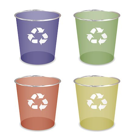 Brightly coloured recycle trash or waste bin Stock Photo - Budget Royalty-Free & Subscription, Code: 400-04410057