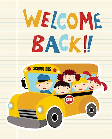 Welcome Back to school bus with children background. Hand drawn text. Stock Photo - Budget Royalty-Free & Subscription, Code: 400-04411576
