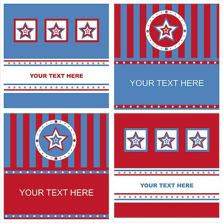 fireworks vector art - set of 4 cute american colored stars frames Stock Photo - Budget Royalty-Free & Subscription, Code: 400-04411701